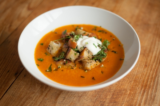 Autumnal-Carrot-Soup-with-Herbed-Croutons