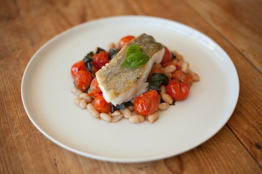 Pan-Roasted Cod with Braised Cherries and White Beans
