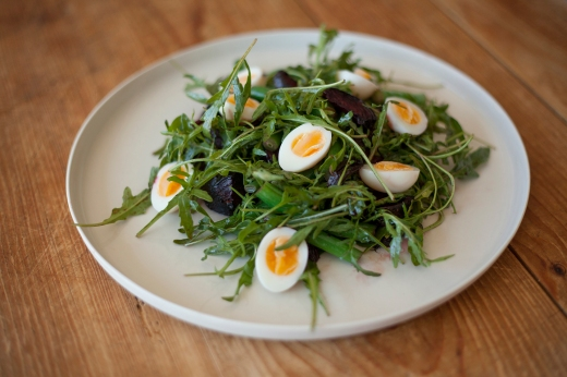 Roasted Beetroot with Soft Boiled Quail Eggs