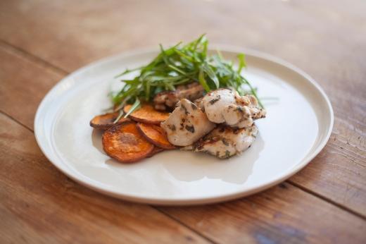 Oregano & lemon chicken with sweet potato & salad