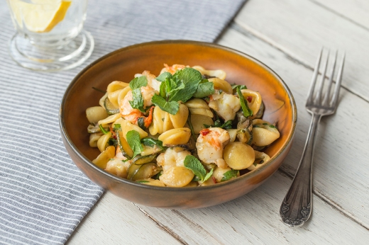 Orecchiette with Prawns & Zucchini ›› http://bit.ly/17fn6dc