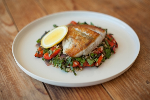 Pan-Seared Barramundi with Brown Rice Salad ›› http://bit.ly/1N6xFAs