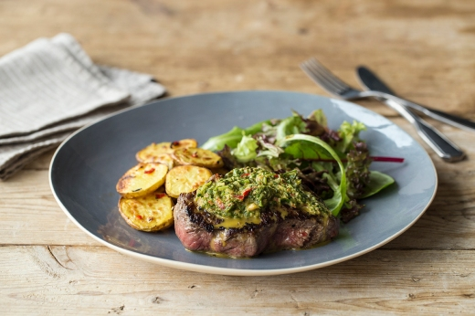Steak with Chimmichurri & Chilli Potatoes ›› http://bit.ly/1H3wsYj