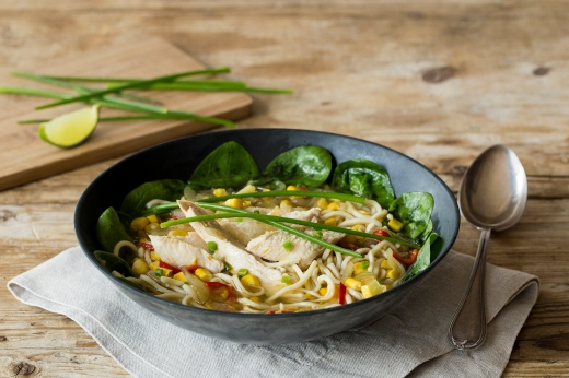 Comforting Chicken & Corn Noodle Soup ›› http://bit.ly/1IKKj6A