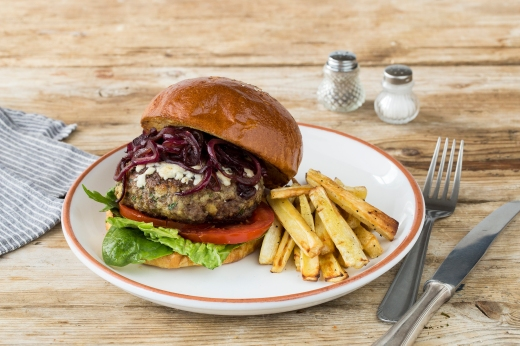 Cheeseburger with Onion Relish & Parsnip Fries ›› http://bit.ly/1ep3Vln
