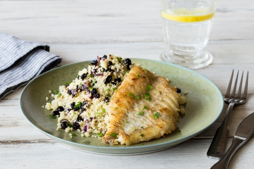 Pan-Fried Fish with Zesty Currant Couscous ›› http://bit.ly/1F4z5UL