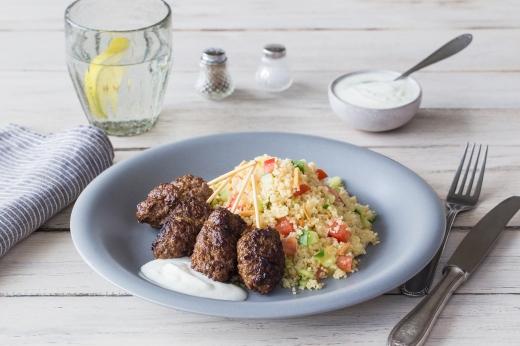 Lebanese Lamb Koftas with Coucous & Tzatizki ›› http://bit.ly/1GUBgyq