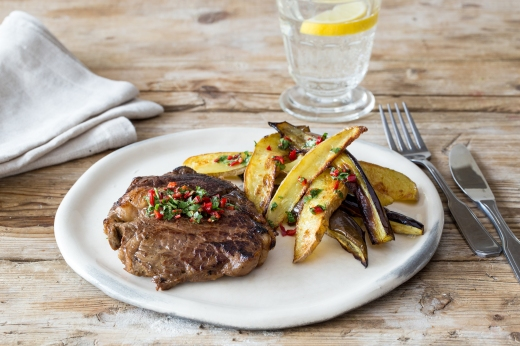 Scotch Fillet with Coriander Relish & Mixed Wedges ›› http://bit.ly/1RK3yhL