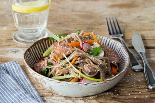 Seared Miso Steak with Radish & Soba Noodles ›› http://bit.ly/1BwfKAx