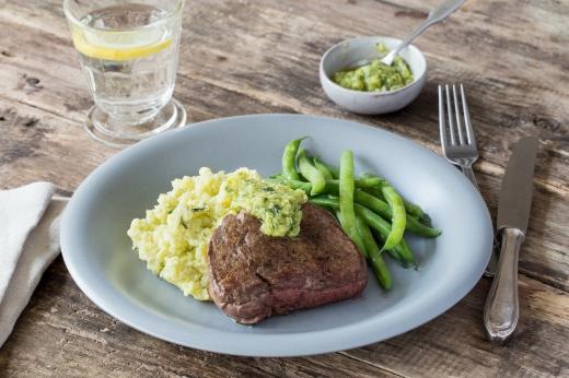 Rump Steak with Pesto Mash ›› http://bit.ly/1G5Vly6